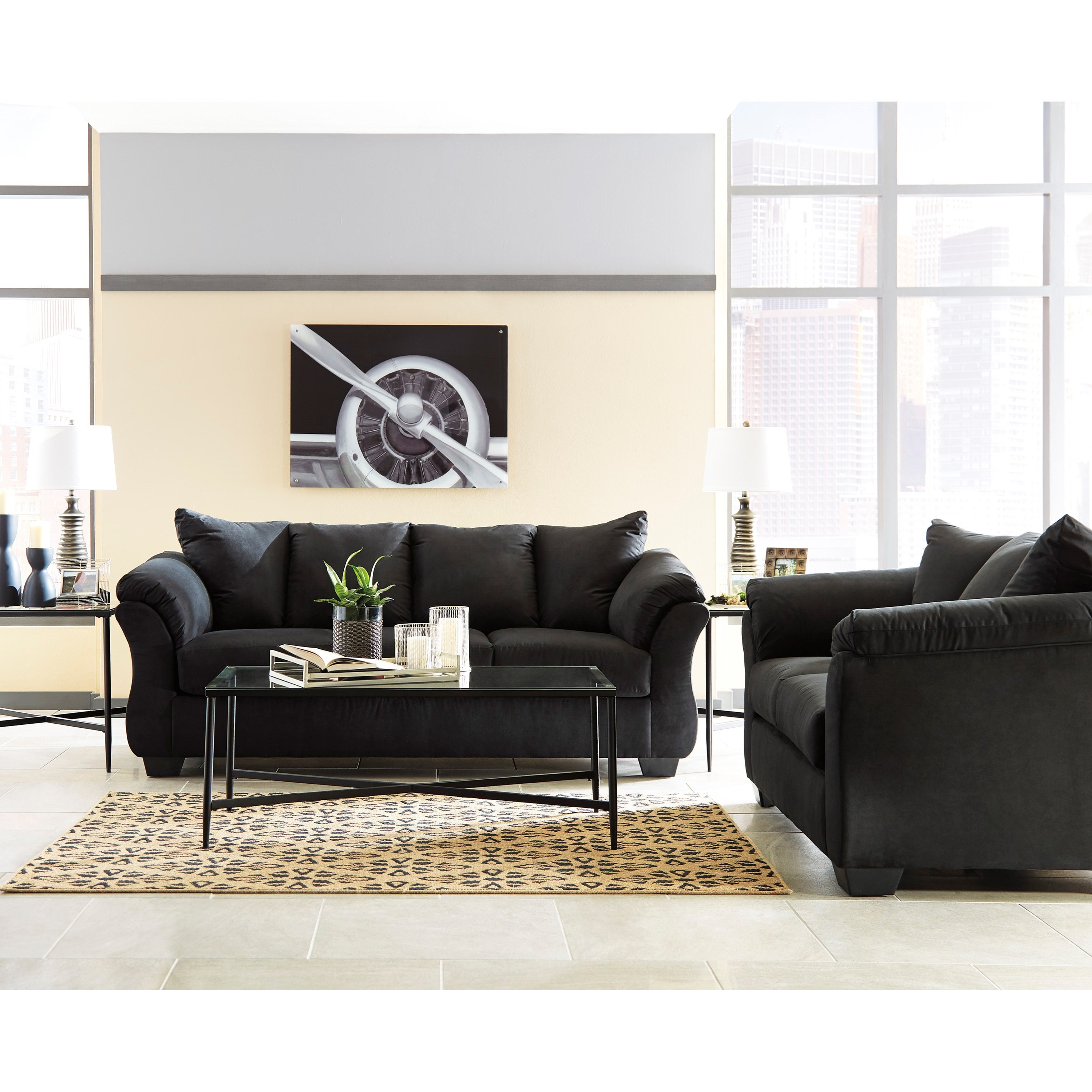 Darcy - Black Stationary Living Room Group by Signature Design by Ashley at Furniture Barn