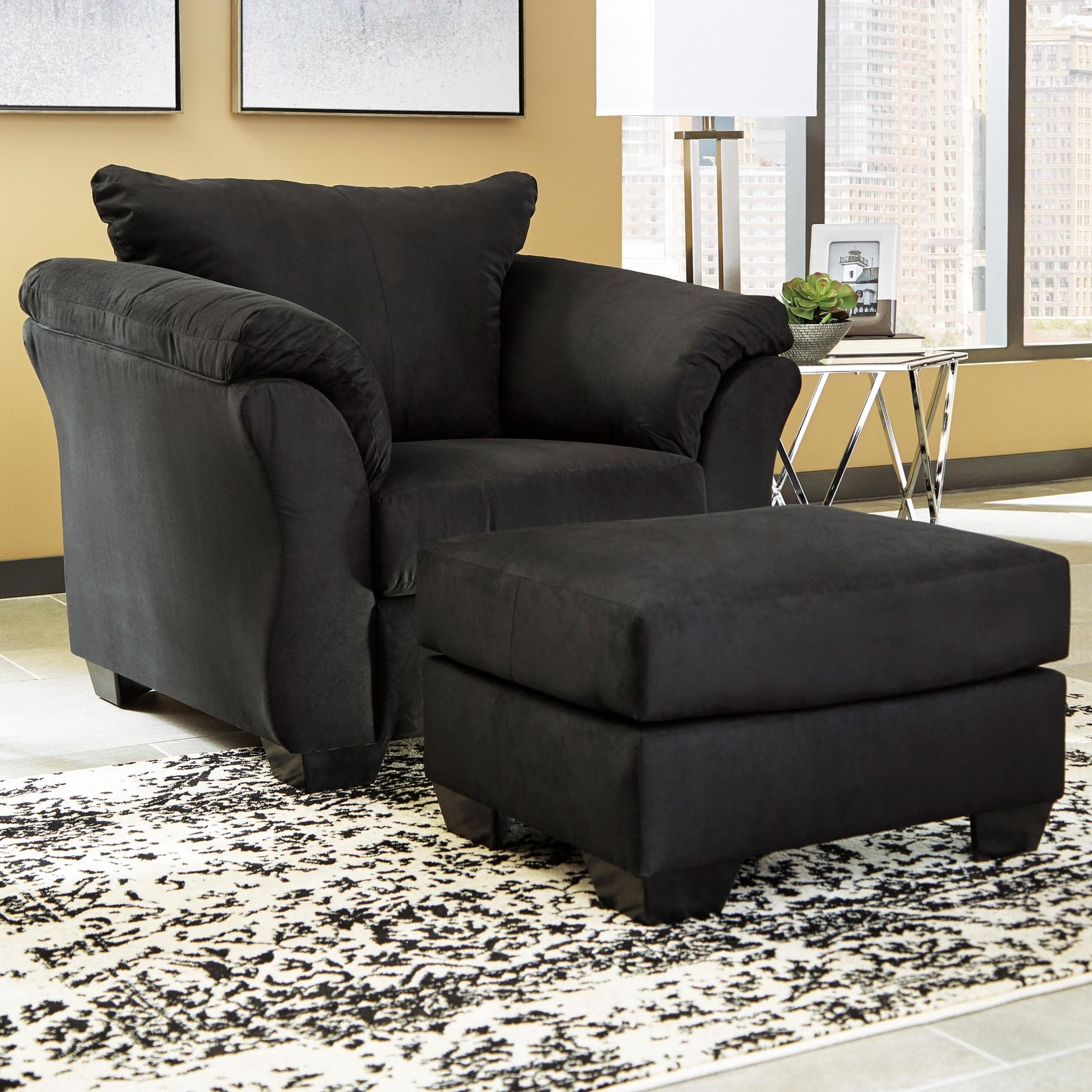 Darcy - Black Upholstered Chair and Ottoman by Signature Design by Ashley at Furniture Barn