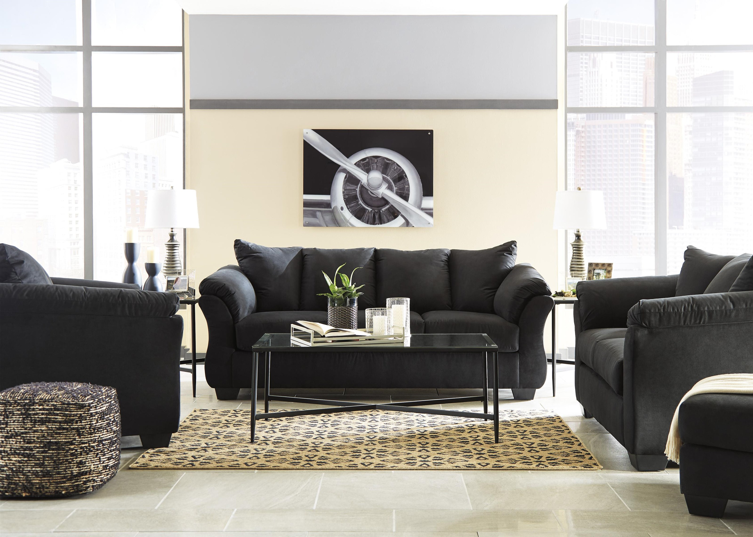 Darcy - Black Sofa, Chair and Ottoman Set by Signature Design by Ashley at Sam Levitz Outlet