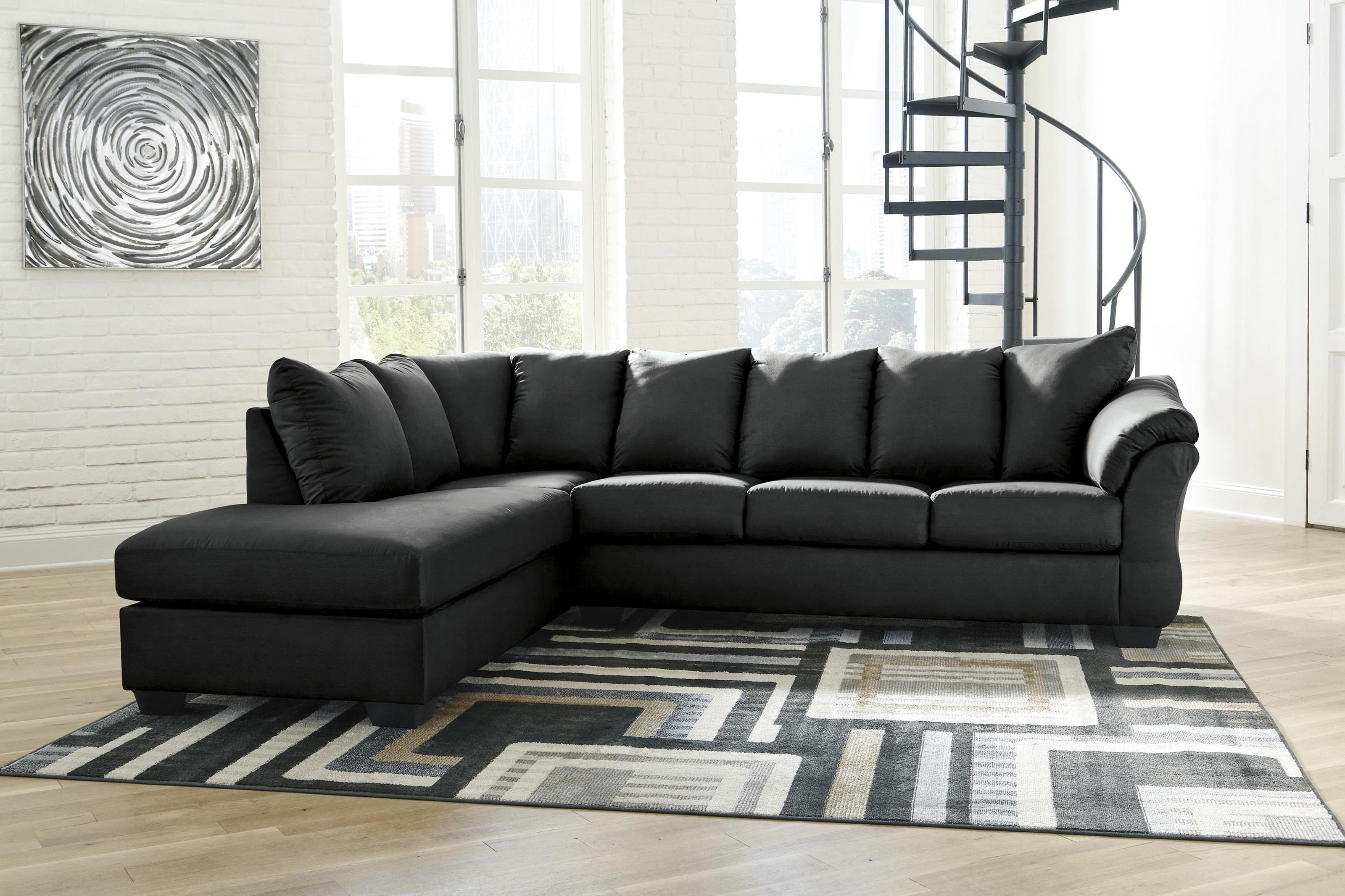 Darcy - Black 2 PC Sectional and Chair Set by Signature Design by Ashley at Sam Levitz Outlet