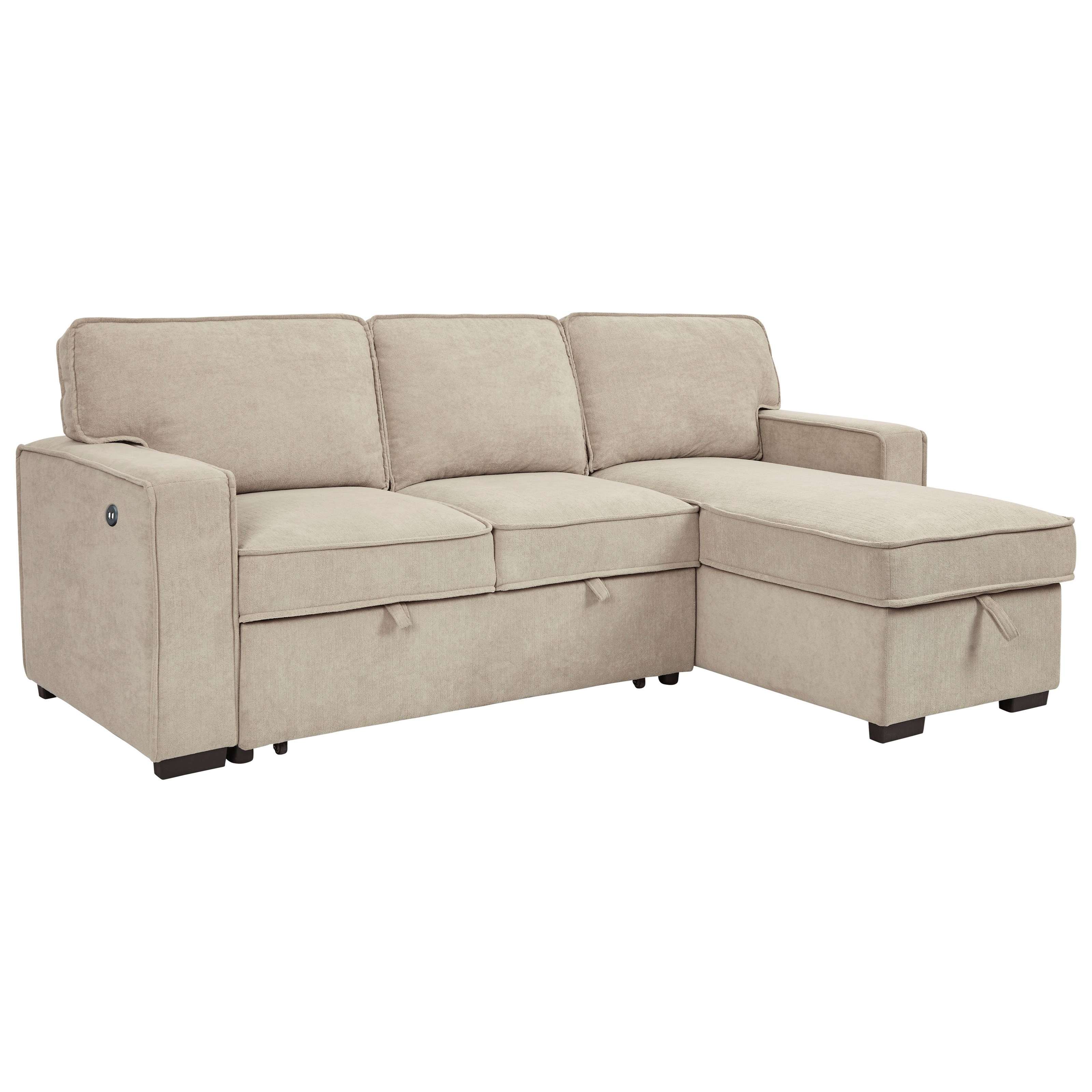 Darton Sofa Chaise with Pop Up Bed & Storage Chaise by Signature at Walker's Furniture