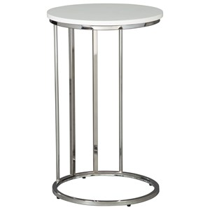 Round End Table with Chrome Metal Base