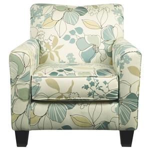 Contemporary Accent Chair with Floral Fabric