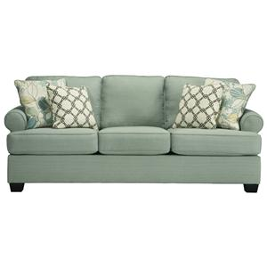 Contemporary Sofa with Rolled Arms & Reversible Seat Cushions