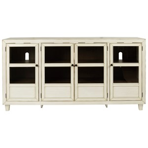 Antique White Accent Cabinet with Glass Doors