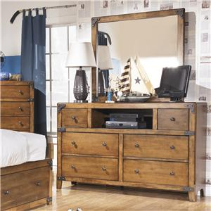 Dresser with Open Compartment & Mirror in Rustic Pine