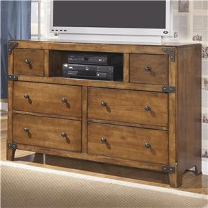 Dresser with Open Compartment in Rustic Pine