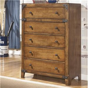 5-Drawer Chest in Rustic Pine