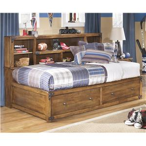 Twin Bookcase Bed with Footboard Storage