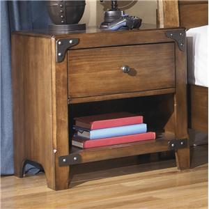 One Drawer Night Stand with Shelf in Rustic Pine