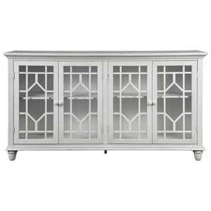 Antique White Finish Accent Cabinet with Lattice Glass Doors