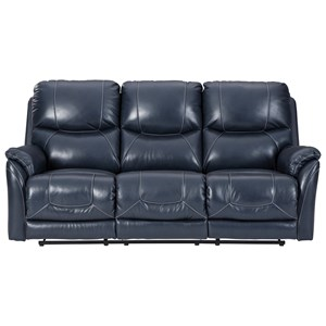 Power Reclining Sofa with Adjustable Headrest and Built-In USB Ports