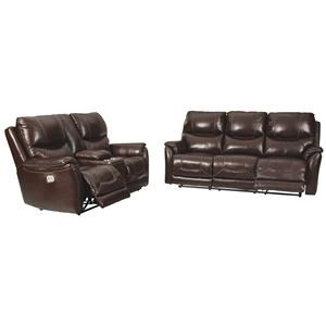 Pwer Reclining Sofa with adjustable Headrest and Power Reclining Loveseat with Console and Adjustable Headrest