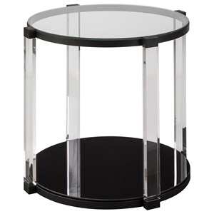 Contemporary End Table with Acrylic Legs and Glass Top