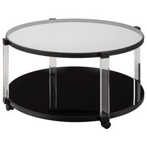 Contemporary Round Cocktail Table with Acrylic Legs, Glass Top, and Casters