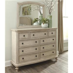 Vintage Parchment White Finish Dresser with 9 Drawers & Bedroom MIrror