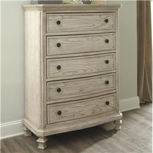 Vintage Parchment White Finish Chest with 5 Drawers