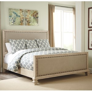 California King Upholstered Panel Bed with Upholstered Footboard