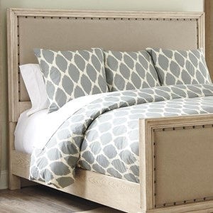 Queen Upholstered Panel Headboard with Nailhead Trim