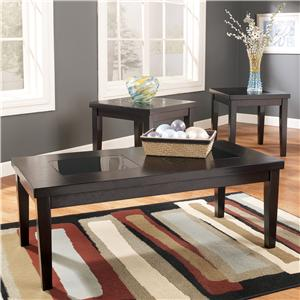 3-in-1 Pack Occasional Tables with Black Glass Insert Tops