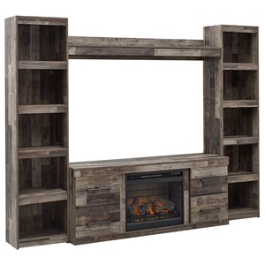 Entertainment Wall Unit with Fireplace Insert