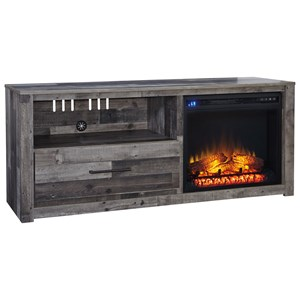 "Large Contemporary 59"" TV Stand with LED Fireplace"