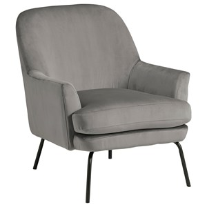 Modern Accent Chair with Black Finish Metal Legs