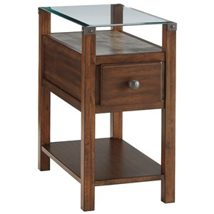 Dark Brown Chair Side End Table with Glass Top and Faux Concrete Shelf