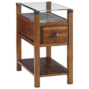 Medium Brown Chair Side End Table with Glass Top and Faux Concrete Shelf