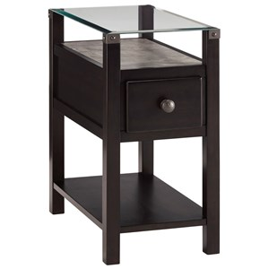 Almost Black Chair Side End Table with Glass Top and Faux Concrete Shelf