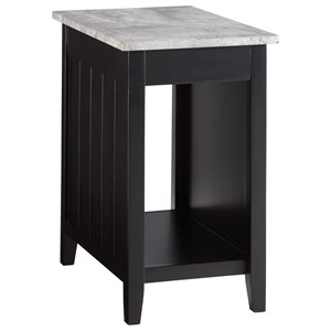 Black Paint Chair Side End Table with Faux Concrete Top