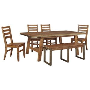 Signature Design by Ashley Dondie 6-Piece Solid Wood Table Set w/ Bench