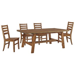 Signature Design by Ashley Dondie 5-Piece Solid Wood Dining Table Set