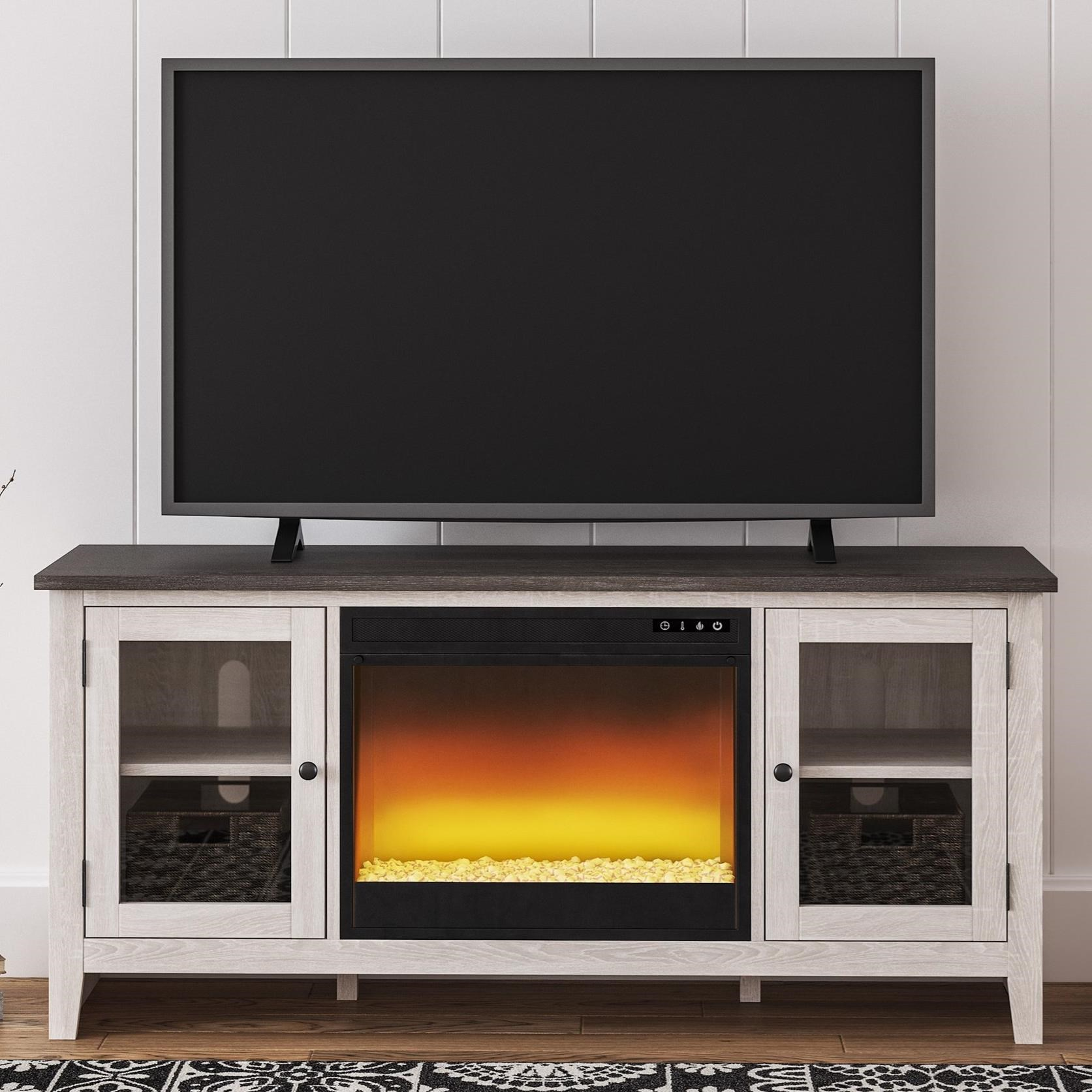 Dorrinson Large TV Stand w/ Fireplace Insert by Ashley (Signature Design) at Johnny Janosik