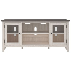 Two-Tone Large TV Stand with Glass Doors