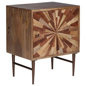Mid-Century Modern Accent Cabinet with Starburst Design