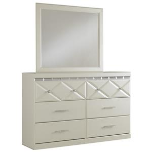 6-Drawer Dresser with Faux Crystal Accents & Mirror