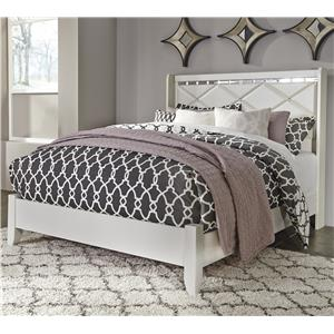 Queen Panel Bed with Faux Crystals