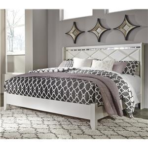 King Panel Bed with Faux Crystals