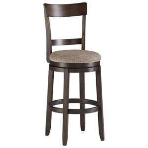 Relaxed Vintage Upholstered Swivel Barstool with Nailhead Trim