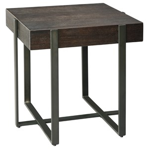 Contemporary Square End Table with Thick Slab Look Top and Metal Base