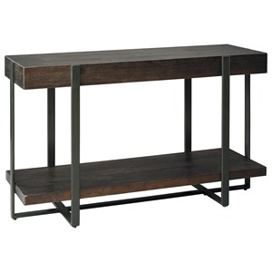 Contemporary Sofa Table with Thick Slab Look Top and Metal Base