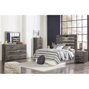 King Panel Bed, Dresser, Mirror, 2 Nightstands and Narrow Chest Package