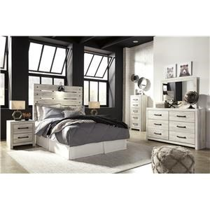 Full Panel Bed, Dresser, Mirror, Nightstand and Narrow Chest