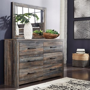 Rustic 6-Drawer Dresser and Mirror Set with Metal Hardware