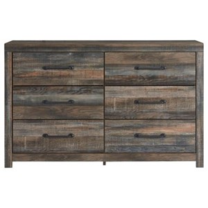 Rustic Six Drawer Dresser with Metal Hardware