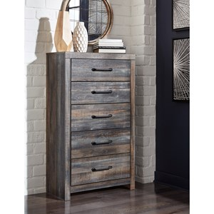 Rustic 5-Drawer Chest with Metal Hardware