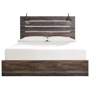 Rustic King Panel Bed with Industrial Lights