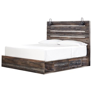 Rustic King Storage Bed with 2 Drawers & Industrial Lights