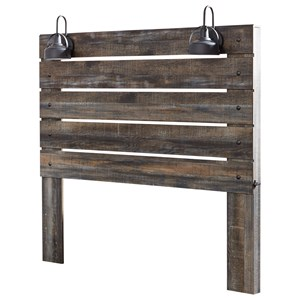 Rustic King Panel Headboard with Industrial Lights
